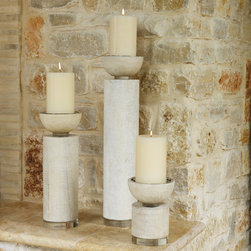 Scratched Pillar Holder - Large - Grand height combines with a simple, rustic transitional design to form pleasing vertical impact in the Scratched Pillar Holder.� A cylindrical pole topped with a shallow wooden cup to hold a five-inch candle, this candlestick is finished with a network of etched scratches evenly distressing the soft neutral shade of the wood.� This large version is two feet high and pairs well with the two smaller sizes of the same design for varied vignettes.