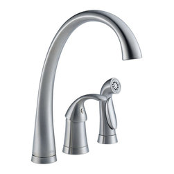 Delta Faucet Company - Delta Pilar Single Handle Kitchen Faucet with Spray (4380-AR-DST) - Delta 4380-AR-DST Pilar Single Handle Kitchen Faucet with Spray, Arctic Stainless