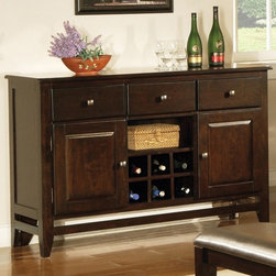 Steve Silver Co. - Victoria Wine Server w 2 Doors - Three drawers. Contemporary style. Open shelves. Corner block construction. Tongue and groove joints. Made from solid wood. Mango finish. Made in Vietnam. 54 in. W x 18 in. D x 36 in. H (139.5 lbs.)