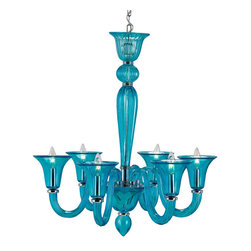 Justina Chandelier in Turquoise - Love at first sight! This turquoise chandelier would look fabulous anywhere, but would bring pure glamour for a family room.