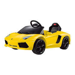 Digital Complex Inc - Rastar Lamborghini Aventador LP700-4 6V Remote Controlled Car - Yellow Multicolo - Shop for Tricycles and Riding Toys from Hayneedle.com! Give your child a sweet ride and fun toy with the Rastar Lamborghini Aventador LP700-4 6V Remote Controlled Car - Yellow. This sporty car will provide hours of fun as your child goes forward and reverse all over the neighborhood. Recommended for children ages 3 to 5 and up to 55 lbs this Lamborghini goes along at three mph and even includes a wireless remote control so you can drive the car for your child. Crafted from durable ABS plastic and completed with authentic Lamborghini badges this toy car also features front LED headlights a key ignition with sound effects a pretend seatbelt and even an MP3 jack so you can play your child's favorite music while they drive. Easy to use the Lamborghini has a foot pedal throttle for moving and quickly stops when your child removes her foot. Its 1 x 6 volt 7 amp is rechargeable for ease and convenience (charge is included). A fun ride for any child this Lamborghini will have you wishing you had your own adult version! Additional Features Foot pedal throttle 1 x 6 volt 25 watt motor Releasing pedal stops car quickly Wireless remote control for parental control Front LED headlights Key ignition with sound effects MP3 jack so your child can listen to music Battery charger included Features authentic Lamborghini badges Some assembly required About Big Toys USABig Toys USA is an exclusive US distributor for high-quality ride-on toys from Spain Germany China and Italy along with a complete line of American-made rideable toys. Big Toys represents Fisher Price Power Wheels Big Injusa Kid Trax Mini Motos Feber NPL Evo Powerboards and Toys Toys. Big Toys focuses on quality safety value and most of all Big Fun.