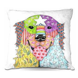 DiaNoche Designs - Pillow Woven Poplin by Marley Ungaro - Retriever Dog - Toss this decorative pillow on any bed, sofa or chair, and add personality to your chic and stylish decor. Lay your head against your new art and relax! Made of woven Poly-Poplin.  Includes a cushy supportive pillow insert, zipped inside. Dye Sublimation printing adheres the ink to the material for long life and durability. Double Sided Print, Machine Washable, Product may vary slightly from image.