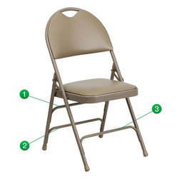 Flash Furniture - Flash Furniture Hercules Series Triple Braced Beige Vinyl Metal Folding Chair - This Triple Braced Plush Comfort Hercules Folding chair provides superior support and comfort. This portable folding chair can be used for Parties, Graduations, Sporting Events, School Functions and in the Classroom. This chair will be the perfect addition in the home when in need of extra seating to accommodate guests. When no longer needed, simply fold away as a compact storage solution. This economically priced chair will endure some heavy usage with an 18-gauge steel frame, triple braced and leg strengthening support bars. [HA-MC705AV-3-BGE-GG]