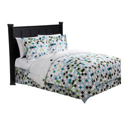 Pem America - Pixel Queen Bed Ensemble - Earthy green, brown and aqua colors combined into a digital geometric pattern to make Pixel.  This easy care pattern is perfect for that room that needs some excitement.  This fun comforter set is also tame enough to be a standard look in your room to coordinate with a natural bedroom.  Get everything you need to transform your bed all in one package with this complete bed in a bag that includes everything you need including sheets and a bed skirt! Includes queen size comforter (86x86 inches), bed skirt (60x80 inches), two standard shams (20x26 inches), queen size sheet set with flat sheet (90x102 inches), fitted sheet (60x80 inches), and two pillowcases (20x30 inches). 100% hypoallergenic microfiber polyester face and fill. Machine washable.