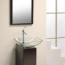 DreamLine - DreamLine Modern Glass 10-inch Slim Line Mahogany Vanity Set - This minimal bathroom vanity set adds modern style to a small space. The set by DreamLine includes a vanity with a hinged cabinet door and sliding drawer,a tempered glass vessel sink with single faucet hole,and a coordinating wall mirror.