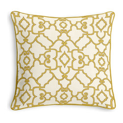 Yellow Scroll Trellis  Corded Throw Pillow - Black and white photos, Louis XIV chairs, crown molding: classic is always classy. So it is with this long-time decorator's favorite: the Corded Throw Pillow.  We love it in this chic morrocan style trellis with intricate outlined scrolls of mustard on ivory cotton.
