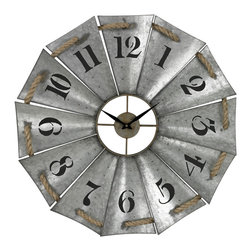 Sterling - Sterling 129-1091 Aluminum and Rope Wall Clock - Sterling 129-1091 Aluminum And Rope Wall Clock