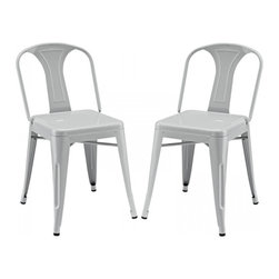 Modway Imports - Modway EEI-1301-GRY Reception Dining Side Chair Set of 2 In Gray - Modway EEI-1301-GRY Reception Dining Side Chair Set of 2 In Gray