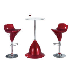 Global Furniture USA - MB230H-BT + MA118BS-R Glass & Red Acrylic Three Piece Bar Set - The MB230H-BT + MA118BS-R bar set will enhance any decor with it's unique modern design. This table features a round glass top attached to a chromed metal support. The base of the table is crafted from acrylic and comes in a red finish. Each stool has a matching red acrylic seat in a unique molded shape. The stools are height adjustable and have built-in footrest for added comfort. The bar set shown includes one table and two stools.