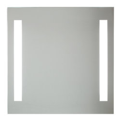 Vanita And Casa - Back-Lighted Mirror With 2 Vertical Lights - This contemporary, rectangular mirror is practical and fashionable in any modern bathroom setting and is the perfect vanity mirror.
