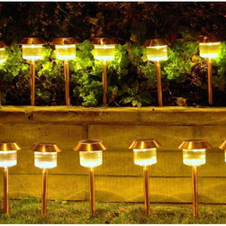 Homebrite - Homebrite Solar Power Belmont Path Lights - Set of 12 Multicolor - 30867/12 - Shop for Lighting from Hayneedle.com! About Homebrite: Founded in 1985 Homebrite restructured their manufacturing process in 2002 in order to focus on developing and improving solar lighting technology. Their innovations in this field led them to quickly become one of the leading specialists in LED lighting. Their dedication to only bringing proven-effective products to the market is reflected in their 10 000 hours of testing to ensure product quality and reliability. Homebrite's constant innovation led to the development of their Super Bright Technology delivering intense brightness with the energy-saving cost-effective use of solar technology. From solar path lights to solar stepping stones and rock spotlights Homebrite's products will provide safety and energy-efficiency to your favorite outdoor spaces.