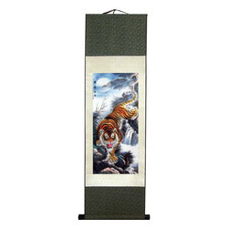 Oriental-Decor - Moonlight Tiger Chinese Print Scroll - A beautiful, orange Chinese tiger descends down the jagged slope of a mountain under the full moon. The color of the night sky and waterfall create a hypnotic effect that is both calming and alluring. The tiger is considered to be one of the strongest and feared creatures in Chinese culture. It has been the subject of paintings and art work for more than 3,000 years. This rich and brilliant Chinese print scroll will make for superb Asian decor while adding a nice colorful effect to any area of home, office or business.