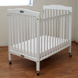 LA Baby Compact Wood Folding Crib with 3 in. Mattress - White - If the LA Baby Compact Wood Folding Crib with 3 in. Mattress - White made your day any more convenient, your kids would take a few hours to read PJ Wodehouse novels before they napped quietly for the rest of the afternoon. Built on a frame of solid wood, this crib has a pristine white finish that sits on heavy-duty rubber casters with metal bracings. Arched ends add visual appeal, and the low-profile design let you get little ones in and out with minimal hassle. The high-gloss finish cleans easily with a damp cloth, and when nap-time is over, this attractive crib can be folded up and rolled away to give you the room you'll need. This functional and easy-to-handle crib also includes a 3-inch vinyl-covered mattress.About LA BabyL.A. Baby is an award-winning division of Amwan, a manufacturer and distributor of fine quality juvenile furniture. With products designed for residential and commercial use, L.A. Baby items can be found in homes, day cares, and hotels. Based in City of Industry, California, L.A. Baby offers a wide range of baby items, including cribs, strollers, safety gates, changing pads, and high chairs.