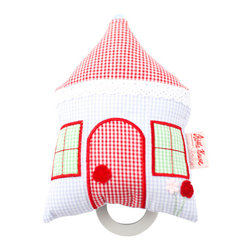 K�the Kruse - Musical House - Baby will be rocking the house with this soft, musical toy. It's handmade of colorful gingham, lace and bright red embroidery — and a melody plays when the cord is pulled so baby can be lulled to sleep.