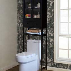 None - Brown Over-the-Toilet Space Saver Cabinet - This chic space-saving cabinet is designed to fit in small or crowded bathrooms with its sleek, over-the-toilet design. Finished in brown, this contemporary cabinet is ideal for storing toiletries, towels and small decorative pieces.