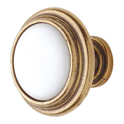 Renovators Supply - Cabinet Knobs Antique Solid Brass 1 1/4'' Dia Cabinet Knob White - This 1 1/4 in. diameter WHITE porcelain cabinet knob features an antique brass backing.