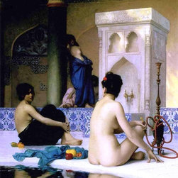 """Jean-Leon Gerome Bathing Scene - 16"""" x 20"""" Premium Archival Print - 16"""" x 20"""" Jean-Leon Gerome Bathing Scene premium archival print reproduced to meet museum quality standards. Our museum quality archival prints are produced using high-precision print technology for a more accurate reproduction printed on high quality, heavyweight matte presentation paper with fade-resistant, archival inks. Our progressive business model allows us to offer works of art to you at the best wholesale pricing, significantly less than art gallery prices, affordable to all. This line of artwork is produced with extra white border space (if you choose to have it framed, for your framer to work with to frame properly or utilize a larger mat and/or frame).  We present a comprehensive collection of exceptional art reproductions byJean-Leon Gerome."""