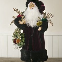 Balsam Hill - Lynn Haney Velvet Jewels Santa - Balsam Hill® Velvet Jewels Santa collectible designed by Lynn Haney comes clad in a flowing burgundy velvet coat with plush black fur trim. Measuring 7''1 x 7''w x 21''h, he holds delightful Hot Skwash Velvet Pumpkins to symbolize the season's bounty. Made in the United States, all pieces are signed by the artist for an indelible mark of quality. Bring childhood wonderment and good Christmas tidings to your home with the elegant Lynn Haney Hot Skwash Velvet Jewels Santa.