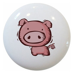 Carolina Hardware and Decor, LLC - Kid's Pig Ceramic Cabinet Drawer Knob - New 1 1/2 inch ceramic cabinet, drawer, or furniture knob with mounting hardware included. Also works great in a bathroom or on bi-fold closet doors (may require longer screws). Item can be wiped clean with a soft damp cloth. Great addition and nice finishing touch to any room!