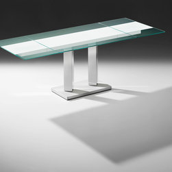 King II Bacher - Extendable dining table: 125 x 90 cm closed, open 175 x  90 cm or 225 x 90 cm. 74 cm high. Tabletop back painted in clear glass on the back with a 40 cm wide white painted stripes, clear glass in standard colors . Columns in matt lacquer or high-gloss stainless steel base plate structure