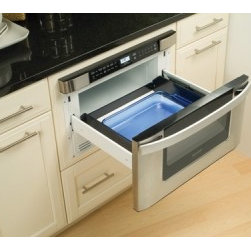 "Sharp 24-Inch Built-In Microwave Drawer - Sharp Microwave Drawer. Sharp 24"" Built-in Microwave Drawer features a new 24"" design, larger cavity, new open towel bar, easier accessibility, control panel features open and close buttons, increased functionality, and much more!"