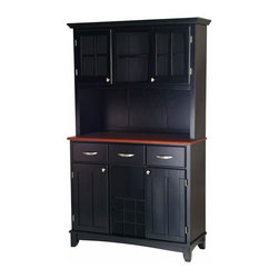 Home Styles - Home Styles Large Wood Buffet with Cherry Wood Top and 2-Door Hutch in Black - Home Styles - Buffet Tables & Sideboards - 5100004242 - Smartly styled and equally practical for any dining or entertaining area the Home Styles Large Buffet and 2-Door Hutch has every one of your serving needs covered. Beginning with a lengthy cherry wood table top ideal for any task this buffet is amply equipped with three spacious pull drawers an open central shelf above a 9-bottle wine rack and two large adjustable shelf compartments with inset-paneled doors. The accompanying hutch presents additional storage capacity with two open shelves and a pair of single shelf cabinets behind plexi-glass panel doors. Stylish brushed nickel handle and knob hardware join an arched apron and taper-cut feet in adding further character while a pure black finish provides a definitive look.