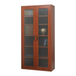 Safco - Storage Bookcase with Doors - Cherry Multicolor - SPC385 - Shop for Bookcases from Hayneedle.com! Made of .75-inch furniture-grade laminate wood the Storage Bookcase with Doors - Cherry has five adjustable shelves for storing everything from novels to knickknacks. Move each shelf up or down in 2.5-inch increments to store things just the way you like. A bastion of refined organization with its frosted ribbed doors and cherry finish this bookcase will fit seamlessly into any home office. About Safco ProductsSafco products were specifically developed to meet the changing needs of the business world offering real design without great expense. Each product is designed to fit the needs of individuals and the way they work by enhancing comfort and meeting the modern needs of organization in the workplace. These products encourage work-area efficiency and ultimately work-life efficiency: from schools and universities to hospitals and clinics from small offices and businesses to corporations and large institutions airports restaurants and malls. Safco continues to offer new colors new styles and new solutions according to market trends and the ever-changing needs of business life.