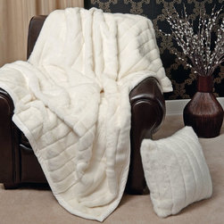 Faux Fur Throw Blanket, White Mink - A white mink throw is just the thing you want to curl up by the fire with.