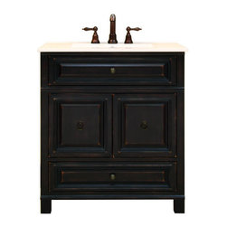 """Sunny Wood - Sunny Wood BH3021D Antique Black Barton Hill 30"""" Wood Vanity Cabinet - 30"""" Wood Vanity Cabinet from the Barton Hill Collection Bring a love of home into your bath with the Barton Hill Vanity Collection from Sunny Wood. Inspired by sophisticated country antiques, this collection offers casual, stylish designs that are based on 18th and 19th century furniture. The Barton Hill Collection is designed for today s bath environment, you won t need to compromise on style, quality and function when you choose fine bath furnishings from Sunny Wood. Ample storage, quality materials construction are complemented by a beautiful hand-rubbed finish. The Barton Hill Vanity Collection by Sunny Wood has a unique distressed finish, moderate scale, and tasteful detailing that make it the choice for your bath environment. The collection glows with a sense of place and purpose. Ample storage, adjustable levelers, and raised field panels offer a myriad of features and benefits. The cabinets feature tasteful crown moldings, centrally located ring-pull hardware, and a beveled glass mirror. All components of this collection are constructed of select hardwood solids and veneers and will allow for years of carefree service. The Barton Hill Vanity Collection by Sunny Wood has been created to complement your special bath environment. Product Details:  Dimensions: 30""""W x 21""""D x 34""""H Constructed of Maple hardwoods and veneers 2 Door, 1 Drawer Design Inset Drawers and Doors Durable painted finish with accent glaze Dramatic Moldings and Raised Panel Doors Ample interior storage Brass decorative hardware Crated and shipped assembled Barton Hill vanities: 30"""" (this model), 36"""" (BH3621D), 48"""" (BH4821D) Additional image is that of the 36"""" version of this vanity, but still provides reference for design characteristics and finish Finish Distressing Technique Ap"""