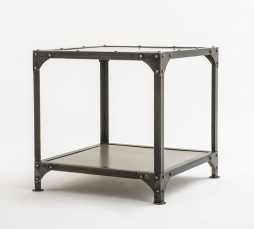 "Four Hands - Square Metal End Table with Shelf - A true cubist at its most industrial, this end table measures 24"" x 24"" x 24"". The metal construction makes it extremely durable and all corners are reinforced. Solid tabletop and lower display shelf with lots of open space to keep this piece from looking too heavy. The raw metal and iron are acid-washed then sandblasted before being electroplated. The antique nickel finish is created with wax and oil. This end table proves that ""it""s hip to be square."""
