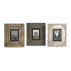 iMax - Aiden Hand Carved Frames, Set of 3 - Great for displaying travel photos or your favorite people, this set of frames are hand carved and blend effortlessly with a variety of decor!