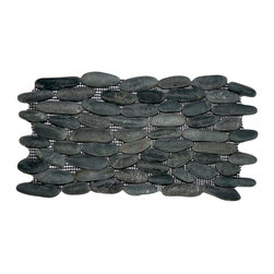 "CNK Tile - Charcoal Black Standing Pebble Tile - Each stone is carefully selected and hand-sorted according to color, size and shape in order to ensure the highest quality pebble tile available.  The stones are attached to a sturdy mesh backing using non-toxic, environmentally safe glue.  Because of the unique pattern in which our tile is created they fit together seamlessly when installed so you can't tell where one tile ends and the next begins!     Usage:    Shower walls, bathroom walls, general wall covering, backsplashes, swimming pools, patios, fireplaces and more.  Interior & exterior. Commercial & residential.     Details:     Sheet Backing: Mesh   Sheet Dimensions: 6"" x 12""   Pebble size: Approx 3/4"" to 2 1/2""   Thickness: Approx 3/8""   Finish: Natural Black"