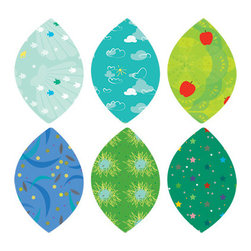 Simple Shapes - Summer Leaves Fabric Wall Stickers - Repositionable patterned leaves can be moved around reapplied as many times as you want! This is part of our Tree with Pattern Leaves collection. See link below for the full tree and leaves sets that are available.