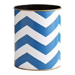 Blue Chevron Wastebasket - Even the wastebin can bring a shot of color to your space. If you like chevron but don't want to commit to a rug or drapes, this might just be the answer.