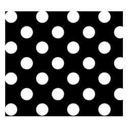 "SheetWorld - SheetWorld Fitted Crib / Toddler Sheet - Primary Polka Dots Black Woven - This luxurious 100% cotton ""woven"" crib / toddler sheet features white polka dots on a solid black background. Our sheets are made of the highest quality fabric that's measured at a 280 tc. That means these sheets are soft and durable. Sheets are made with deep pockets and are elasticized around the entire edge which prevents it from slipping off the mattress, thereby keeping your baby safe. These sheets are so durable that they will last all through your baby's growing years. We're called SheetWorld because we produce the highest grade sheets on the market today. Size: 28 x 52."