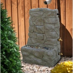 RTS Resin Rock Fountain Rain Barrel - Add the beauty of a fountain and the functionality of a rain barrel to your backyard with the RTS Resin Rock Fountain Rain Barrel This rain collector has a faux stacked rock exterior for a natural appearance. A ledge near the bottom can be filled with river rocks for added beauty. Simply place it below any downspout, and let it fill with water that you can then use to water the flowers, wash the car and more! An overflow valve is located at the top while a spigot in the middle makes it easy to empty water into a watering can or bucket. Finally, a valve near the bottom allows for an easy hose connection.About RTSIn 2000, RTS Companies Inc., was formed as a spinoff of the plastics division of Canbar. Since then, RTS Companies has grown its small plastics division into a well-known North American manufacturer of custom and proprietary molded plastic products. Today, RTS Companies continues with the tradition of producing high-quality products for several different markets.