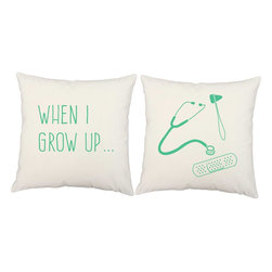 RoomCraft - Doctor Throw Pillow Covers 16x16 White Cotton Shams - FEATURES: