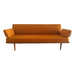 Used Danish Mid-Century Modern Hvidt France & Son Sofa - An incredible find, this Danish Mid-Century Modern sofa was designed by Peter Hvidt for France and Son, and distributed by John Stuart. It's in wonderful condition including the original burnt orange fabric.
