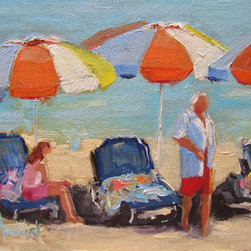 """Beach Weekend"" Artwork - An alla prima rendering of a wonderful weekend spent at a beach in france. something to think about in the dead of winter when one yearns to get out of the cold and into the lovely warm blue waters. photo compliments of claudia ward. this little gem is set in a 1.25 "" depth black wood floater frame which is included in the pricing."