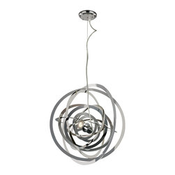 "Trans Globe Lighting - Trans Globe Lighting PND-979 Tangled Nebula 20"" Modern / Contemporary Pendant Li - Exciting laser cut chrome circles bound with in circles dangling carefree from up high. Attractive accent lighting in a tangled ball of dimensions and orbits. Beautiful as an open light form for studio or loft. Reflective shine from chrome blends shadows across closed spaces."