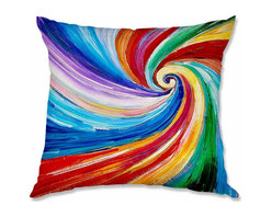 DiaNoche Designs - Pillow Woven Poplin by Lam Fuk Tim Color Vortex - Toss this decorative pillow on any bed, sofa or chair, and add personality to your chic and stylish decor. Lay your head against your new art and relax! Made of woven Poly-Poplin.  Includes a cushy supportive pillow insert, zipped inside. Dye Sublimation printing adheres the ink to the material for long life and durability. Double Sided Print, Machine Washable, Product may vary slightly from image.