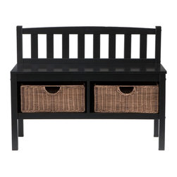 "Holly & Martin - Holly & Martin Brazos Bench w/ Brown Rattan Baskets, Black - This low-profile contemporary black storage bench goes well at the end of a bed, in a bathroom, entryway, or living room. Finished in satin black, this bench is built with an all-wood construction and has two rattan baskets perfect for storing all your necessities. The seat back is symmetrically lined with vertical slat braces and the sides are open for a sleek styling. Each of the two baskets measures 12"" deep, 15"" wide, and 7"" tall while the seat itself measures 12. 5"" deep and 36"" wide. This simple slender design is sure to provide a convenient seat without taking up too much precious space in your home."