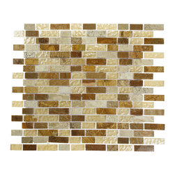 "Alloy Canyon Blend Random Glass & Marble Mosaic Tiles - Alloy Canyon Blend 1/2 x Random Glass and Stone Tile This striking blend of polished glass in shades of golden brown in wood onyx and noche travertine, with the golden marble gives a luminescent quality to any bathroom, kitchen, or pool installation. The blending of the golden marble with the shades of golden brown will provide a rustic and tradtional ambiance, but this pattern can still make a room look modern. Chip Size: 1/2"" x Random Color: Shades of Golden Brown, Wood Onyx and Noche Travertine Material: Glass and Stone Finish: Polished Sold by the Sheet - each sheet measures 12"" x 13"" (1.08 sq. ft.); 18 rows per sheet Thickness: 8mm Please note each lot will vary from the next."