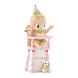 Precious Moments - Precious Moments Hip, Hip, Hooray You're One Year Old Today! Porcelain Girl Figu - Celebrate that first birthday - just before the messy cake! - with this Precious Moments? Hip, Hip, Hooray, You're One Year Old Today!