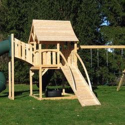 Kelton Deluxe - White cedar swing set with diamond tower, tube slide and ramp.