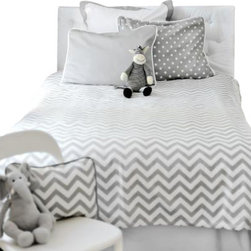 New Arrivals Inc. - Chevron Gray Zig Zag Kids Bedding - Inspired  by the popular chevron pattern, the Chevron Gray Zig Zag Kids Bedding Set by New Arrivals Inc. is fun  for a new big girl or boy room!  Gray and white give a clean modern look  to the room. Create a modern, yet sophisticated room by adding  whimsical accessories and room decor items.  Choose from Duvet Cover or  Coverlet.