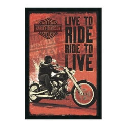 """Harley Davidson - Live to Ride Framed Wall Art - 25.41W x 37.41H in. - About Amanti ArtAmanti Art, derived from the Italian way to say """"""""art lovers,"""""""" has the simple goal of creating an effective way to bring the love of art into everyone's homes. The company offers beautifully crafted frames and top-notch prints at an inexpensive price and with the highest convenience."""