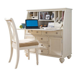 American Drew - American Drew Camden-Light Work Station with Barstool in White Painted - The Camden-Light collection melds simple forms with quiet traditional references, gentle curves and a beautiful time worn ivory finish that lets the character of the wood show through. The brushed nickel finish hardware adds even more character to the Camden collection. This line will work great in your renovated farm house or a smaller beach cottage get-away.