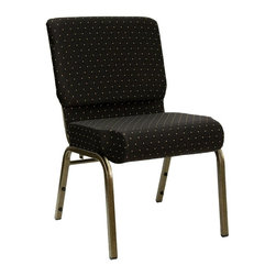 Flash Furniture - Hercules 21 in. Dot Patterned Church Chair - Set of 2. 4 in. thick waterfall edge seat. Fabric upholstery. Rear book pouch. Ganging clamps attach chairs together. 16 gauge steel frame. Plastic rocker glides. Easy to move and store. Warranty: 2 year limited. Made from steel and plastic. Gold vein frame finish. Minimal assembly required. Weight Capacity: 800 lbs.. Back: 21 in. W x 16.5 in. H. Seat: 21 in. W x 18.5 in. D. Seat Height: 19 in.. Overall: 21 in. W x 24.75 in. D x 33 in. H (27 lbs.)