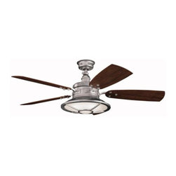 "Kichler - 52"" Harbour Walk Patio 52"" Ceiling Fan Galvanized Steel - Kichler 52"" Harbour Walk Patio Model 310102GST in Galvanized Steel with Reversible ABS Outdoor Cherry/Medium Walnut Finished Blades."